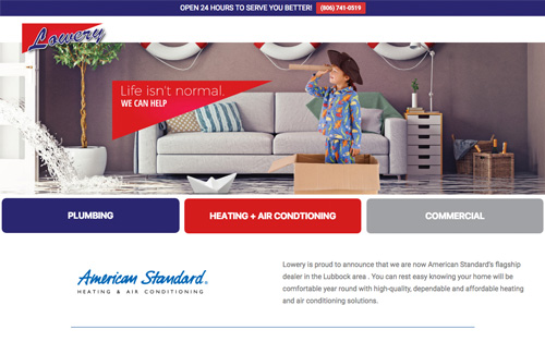 Lowery Plumbing Heating and Air website rebuild - Warehouse75 Lubbock, Texas