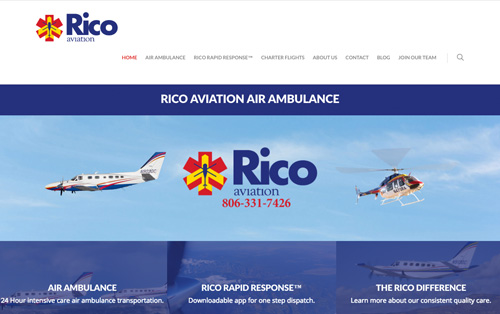 Rico Aviation website build Warehouse75 Lubbock
