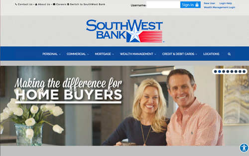 Southwest Bank Lubbock - website rebuild by Warehouse75